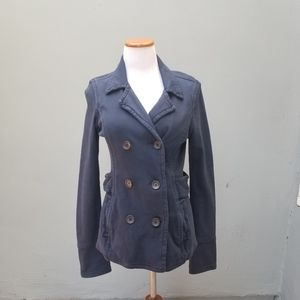 James Perse Double Breasted Navy Blue Coat XL